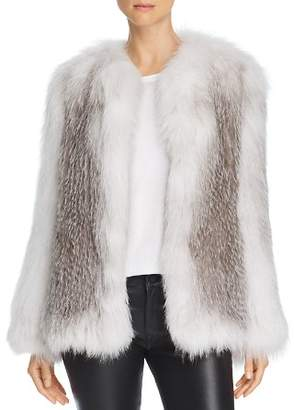 Peri Luxe Marble Knitted Fox Fur Jacket