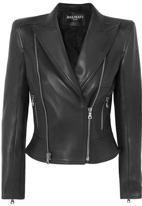 Balmain Leather Biker Jacket - Black