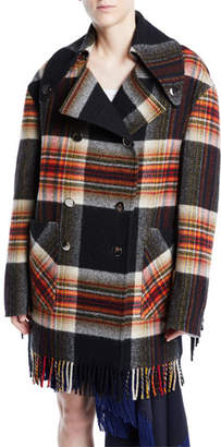 Calvin Klein Double-Breasted Boxy Plaid Wool Jacket w/ Fringe Trim