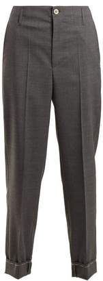 Golden Goose Straight Leg Wool Chino Trousers - Womens - Grey