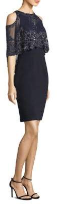 Aidan Mattox Capelet Sheath Dress