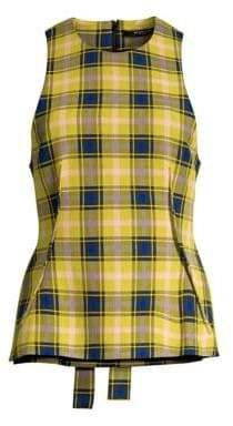 Derek Lam Women's Plaid Wool-Blend Tie-Back Top - Yellow Multi - Size 38 (2)