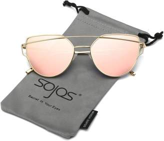 Cat Eye SojoS Mirrored Flat Lenses Street Fashion Metal Frame Women Sunglasses SJ1001 With Gold Frame/Pink Lens