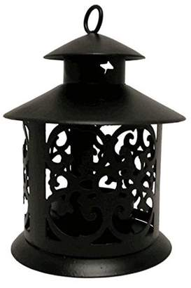 Just Artifacts Decorative Glassless Candle Lantern 5-inch Height Round Design w/ Ring Hook (3pcs, Black)