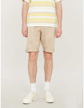 HUGO Turn-up stretch-cotton twill shorts
