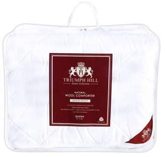 Triumph Hill 100% Australian Wool 100% Jacquard Cotton Medium Weight Winter Bed Comforter Queen Size Machine Washable