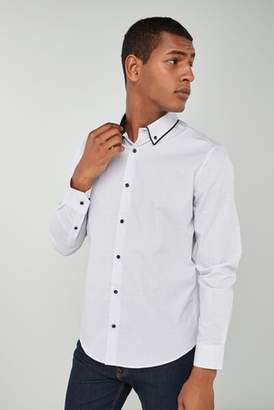 Next Mens White Long Sleeve Double Collar Shirt