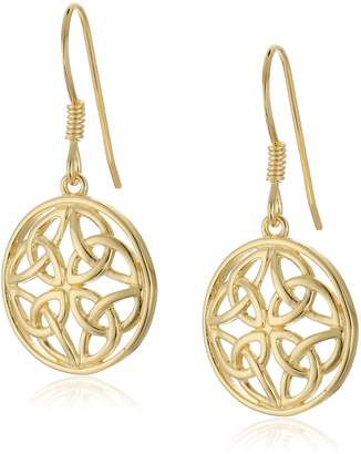 Celtic Amazon Collection 18k Yellow Gold Plated Sterling Silver Two Tone Knot Round Drop Earrings