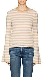 Barneys New York WOMEN'S STRIPED CASHMERE BELL-SLEEVE SWEATER - BEIGE/TAN SIZE M
