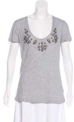 Burberry Embellished Scoop Neck T-Shirt