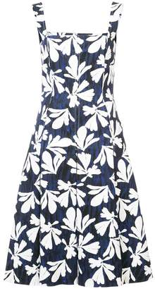 Oscar de la Renta leaf-print flared midi dress