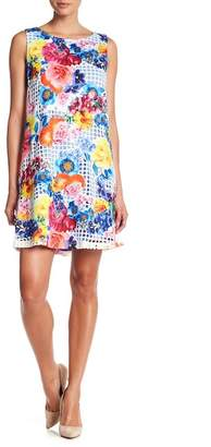 Robbie Bee Printed Lasercut Overlay Dress