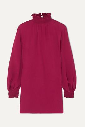 Les Héroïnes The C.j. Shirred Crepe Mini Dress - Burgundy