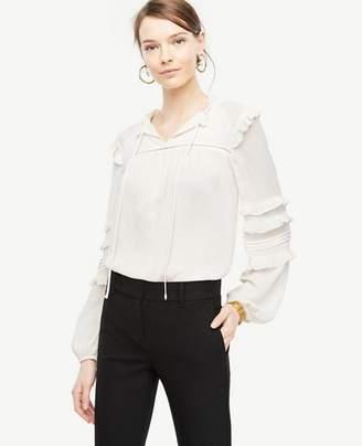 Ann Taylor Ruffle Sleeve Peasant Top