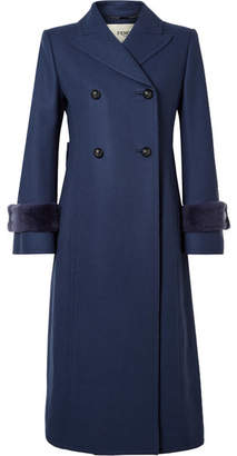 Fendi Faux Fur-trimmed Wool-blend Coat - Blue