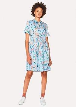 Women's Light Blue 'Acapulco' Print Shirt Dress