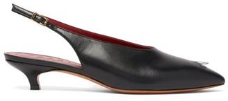 Marni Ring Pierced Point Toe Leather Kitten Heels - Womens - Black