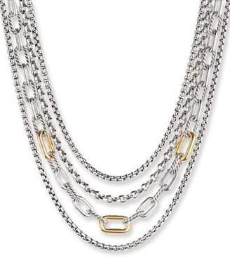 David Yurman 4-Row Mixed Chain Bib Necklace