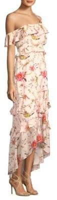 Jillian One-Shoulder Chiffon Ruffle Gown