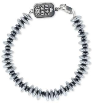 eec9ba7095988 Men's Hematite (8mm) Disc Bead Bracelet in Sterling Silver