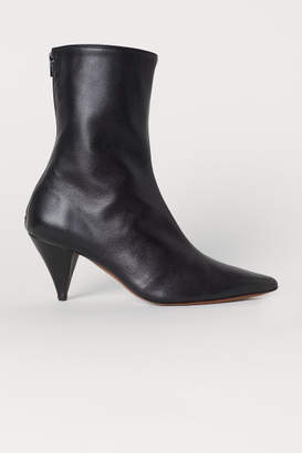 H&M Leather Ankle Boots - Black