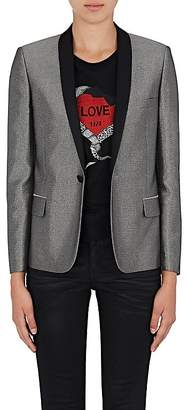Saint Laurent Women's Satin-Collar Metallic Tuxedo Jacket