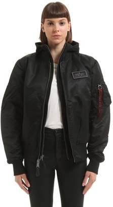 Alpha Industries Hooded Nylon Bomber Jacket