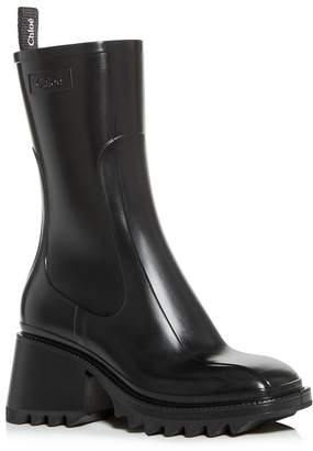 Chloé Women's Betty Block-Heel Platform Rain Boots