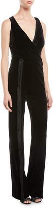 Galvan Deep V Faux-Wrap Sleeveless Velvet Flared-Leg Jumpsuit w/ Fringe Detail