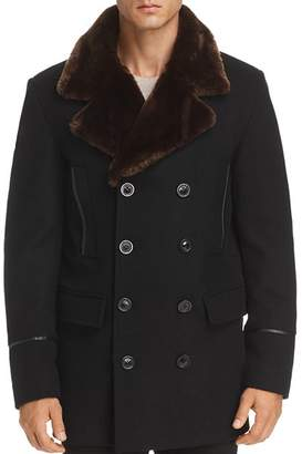 Karl Lagerfeld Paris Faux Fur-Trimmed Double-Breasted Peacoat