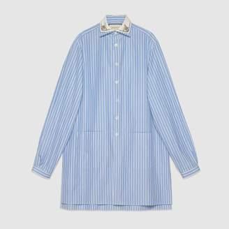 Gucci (グッチ) - ストライプ オーバーサイズ コットン シャツ