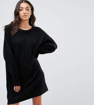 Asos Tall TALL Knitted Dress with Crew Neck in Fluffy Yarn