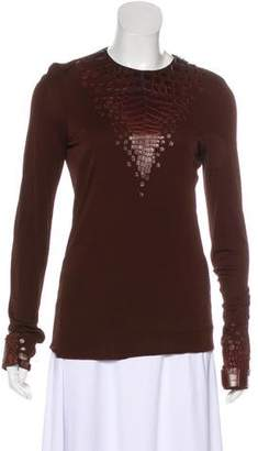 Hermes Leather-Accented Long Sleeve Top