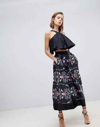 Sabina Musayev Abstract Floral Midi Skirt