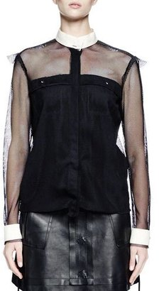 Lanvin Long-Sleeve Fishnet Button-Front Blouse, Black $2,350 thestylecure.com