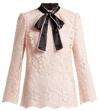 Dolce & Gabbana - Lace Satin Neck Tie Blouse - Womens - Light Pink