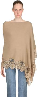 Blend of America Wool Knit & Lace Poncho