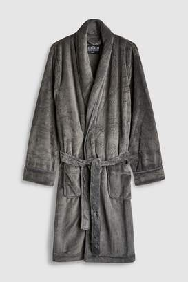 Next Mens Grey Herringbone Fleece Dressing Gown