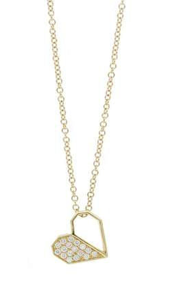 6c187992c Bony Levy BL Icons 18K Yellow Gold Pave Diamond Half Open Heart Pendant  Necklace - 0.08