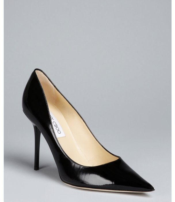 Jimmy Choo black patent leather 'Abel' point toe pumps