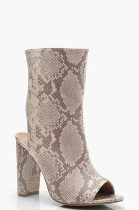 boohoo Wide Fit Snake Peeptoe Shoe Boots