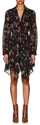 Derek Lam 10 Crosby Women's Floral Silk Georgette Handkerchief-Hem Dress - Black
