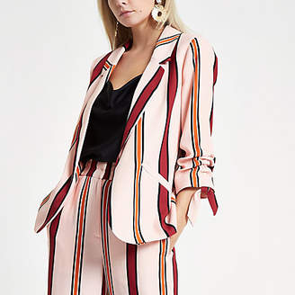 River Island Petite pink striped ruched sleeve blazer