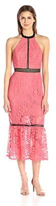 ABS by Allen Schwartz Women's Cocktail Dress Halter Neckline Contrast Inserts in Lace