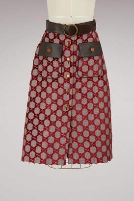 Gucci Velvet GG midi skirt