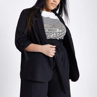 River Island Plus black crepe ruched sleeve blazer