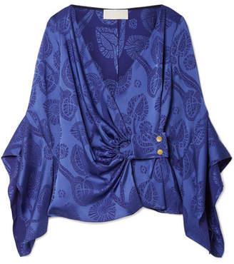 Peter Pilotto Satin-jacquard Wrap Top - Royal blue