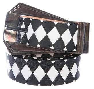 Balmain Printed Leather Belt w/ Tags