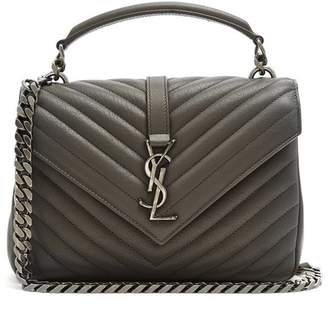 Saint Laurent - College Quilted Leather Cross Body Bag - Womens - Dark Grey