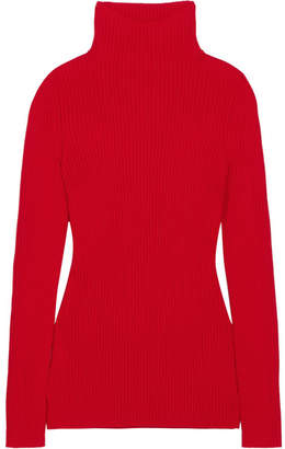 Ribbed Wool Turtleneck Sweater - Red